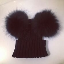 NEW 2016 Womens Luxury Double Bobble Hat With Double Fur Pom Pom Hat Black
