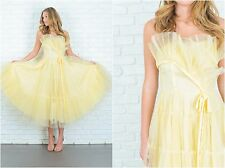 Vintage 50s Yellow Cocktail Gown Dress Tulle Full Party Strapless XXS Maxi