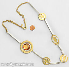 Chico's Signed Necklace Long Gold Silver Tone Chains & Stations Crystal Accents