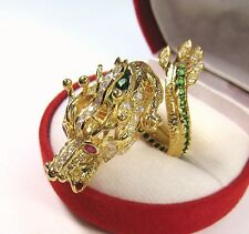 7.47 CTW TSAVORITE RUBY CHROME SAPPHIRE DRAGON RING  YELLOW GOLD/STERLING SILVER