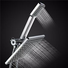 Square Rainfall Shower Head Handheld Wand Combo & Hose & diverter ABS Chrome