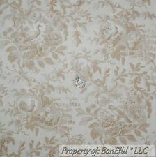 BonEful Fabric FQ Cotton Quilt Tan Brown Cream Bird Toile Lg Flower Leaf Rooster