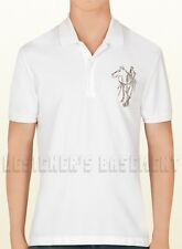 GUCCI Mens XXXL white HORSE & Logo EMBROIDERY cotton Pique POLO shirt NWT Authen