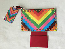 VALENTINO ROCKSTUD 1973 Rainbow Leather Small Clutch, Handbag.