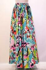 PLUS SIZE BOHO RETRO ABSTRACT FLORAL HIGH WAIST MAXI SKIRT MULTI 14 16 18 20 22