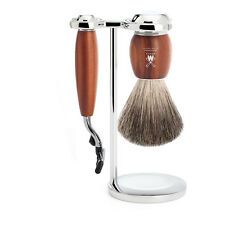 Muhle VIVO Plum Wood 3 Piece Gillette Mach3 Shaving Set - Badger Shaving Brush