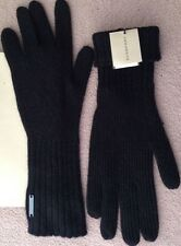 New Burberry Cashmere Blend Ribbed Knitted Touch Gloves Black One Size