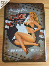 Silverwings Ready for Take Off Pinup Metal Postcard mini tin sign card airforce