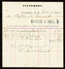 1877 Fuller + Small of Farmington NH, Receipt for Cherub Wood Stove + Fixtures