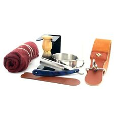 8Pcs Men Shaving Set Straight Razor Leather Strop Bowl Stand Soap Towel And Ring