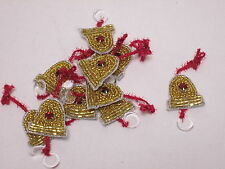 10 X Christmas Gold Beaded Bells Card Making Arts Crafts Embroidered Motifs#6A11