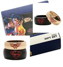 DC Comics Superman Wonder Woman His Size 10 & Hers Size 7 Ring Set Gift NIB!