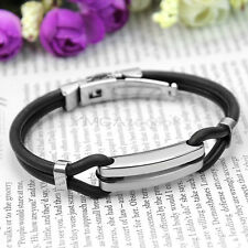 Men's Cool 316L Stainless Steel Black Rubber Wristband Bracelet Bangle Jewelry