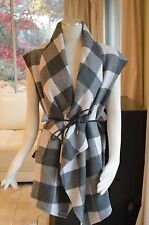 Authentic Women's Weekend by Maxmara Women's Gray Destino Plaid Belted Vest NWT