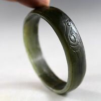 70mm,Chinese antique jade hand carved old Hetian Green jade bracelet 3317