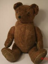 """Vintage Stuffed Plush Jointed Teddy Bear Brown Pointed Nose 16"""" Old Antique"""