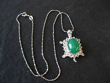 "Beautiful Green Jade Turtle Pendant w/16"" 925 Chain/New"
