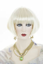 Striking Flapper 20's Style Bob With Straight Across Bangs Straight Wigs