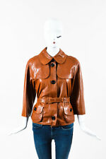 Burberry London Cognac Brown Leather Belted Jacket SZ 8