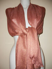 WEDDING  SCARF  PINK GOLD SCARVES SHAWLS  STOLE GIFT  SHAWL NIGHT PARTY PASHMINA