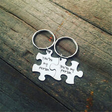 2pcs Silver Plated Cute Jigsaw Keychain Words Holder Pendant For Couple Jewelry