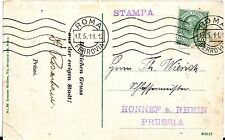 1911 Italy Roma Printed Matter Cover Stampa to Honnef a. Rhein Germany