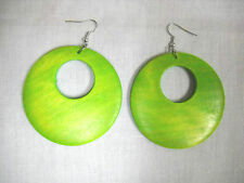 EXOTIC TROPICAL LIME GREEN COLOR STAINED WOOD ROUND FLAT HOOP PAIR OF EARRINGS