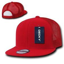 Red Solid Blank Plain Mesh Flat Bill Snapback Trucker Baseball Ball Cap Hat