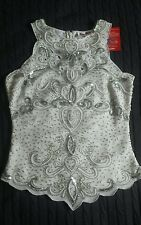 KALEIDOSCOPE STUNNING HEAVILY  EMBELLISHED IVORY TOP SIZE 8 BEADED GLAMOROUS