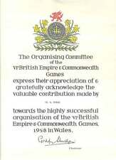 BRITISH EMPIRE & COMMONWEALTH GAMES WALES 1958 EDDIE THOMAS COLLECTION 2 ITEMS