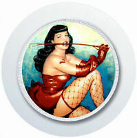BETTIE PAIGE PIN UP GIRL RED SUSPENDERS CAR TAX DISC HOLDER REUSABLE