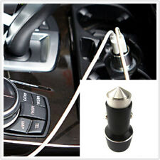 Black Metal USB Dual 2 Port Car Phone Charger Adapter & Safety Emergency Rescue