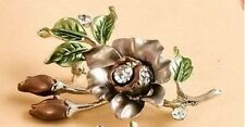 SILVER PLATED AUSTRIAN CRYSTAL BROWN FLOWER BROOCH