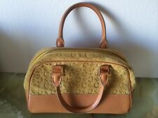 Celine Yellow Suede and Tan Leather Small Bowler Satchel with Celine Logo Print
