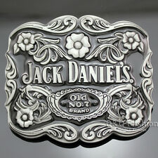 Silver Western Jack Daniels Element Old No.7 Emboss Belt Buckle Line Dance