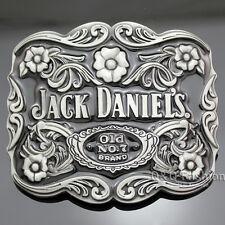 Silver Western Jack Daniels Element Old No.7 Emboss Belt Buckle Line Dance