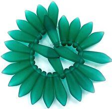 25 Czech Frosted Sea Glass Dagger Beads - Matte -  Emerald  16mm