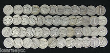1930'S Thirties Mercury Dimes 90% Silver Circulated Full Roll 50 Coins $5 Face