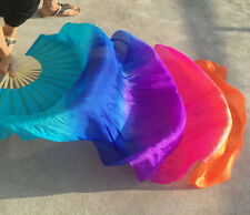Tie Dye Unique Belly Dance Fan 100% Real Silk 1 pair Left/Right Hand