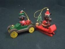 WOODEN CHRISTMAS ORNAMENTS  LOT OF 2 - VINTAGE CAR & DRIVER - SLEIGH  & RIDER