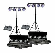 (2) CHAUVET MINI-4BAR LED DJ Mobile Stage Wash Light Systems w/Footswitch & Bag