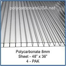 POLYCARBONATE 8mm SHEETS 4ft x 3ft - 4 Pack for GREENHOUSE COVER