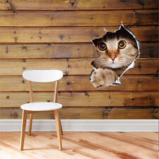3D View Hole Cat Wall Sticker Bathroom Toilet Living Room Decor Stickers TC41