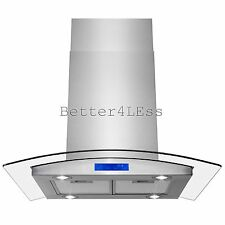 "30"" Stainless Steel Island Mount Range Hood With Curved Glass Touch Panel Fan"