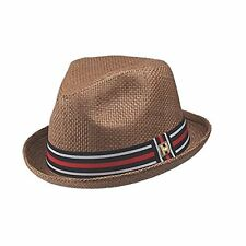 Peter Grimm Depp Fedora Hat w/ Striped Brim Size (XXL) (Brown)