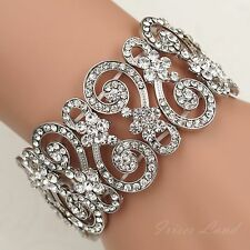 Rhodium Plated Clear Crystal Bridal Wedding Bangle Cuff Stretch Bracelet 09994