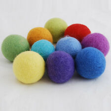 10 Felt Balls - 100% Wool - Handmade - 4cm - Rainbow Colours