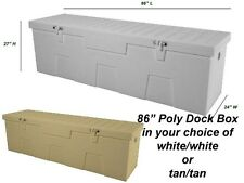 "86"" Poly Boat Dock Deck Pool Outdoor Patio Storage Box"