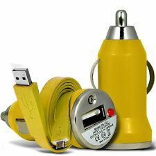 Yellow Single Port USB Car Charger & Flat Data Cable For Nokia Lumia 1020