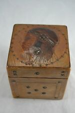 VINTAGE Arts and Crafts tooled leather tea caddy  Egyptian flapper lady 1920s